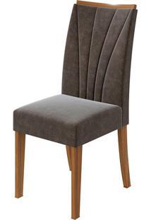 Cadeira Apogeu Velvet Chocolate Rovere Naturale