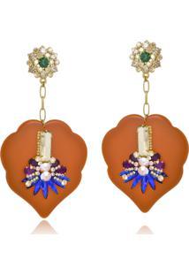 Brinco Le Diamond Resina Coral E Pedras Multicoloridas - Dourado - Feminino - Dafiti