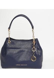 Bolsa Em Couro Com Bag Charm - Azul Marinho - 25X40Xjorge Bischoff