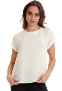 Blusa Bicolor Kinara Chiffon Feminina - Feminino-Amarelo