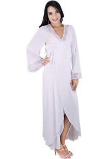 Robe Longo Em Liganete E Renda Sereia - Feminino-Branco