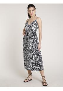 Vestido Feminino Triya Midi Envelope Estampado Animal Print Onça Alças Finas