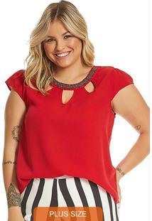 Blusa Feminina Plus Size Secret Glam Vermelho