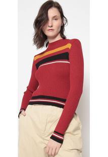 Blusa Listrada Em Tricã´-Vermelha & Pretaosklen