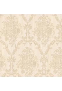 Papel De Parede Floral- Bege Claro & Bege- 1000X52Cmshark Metais