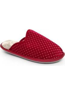 Pantufa Lã Leffa Feminina - Feminino-Vermelho