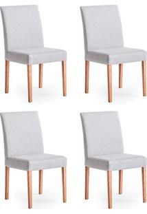Conjunto Com 4 Cadeiras De Jantar Nube Cinza E Castanho