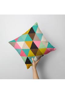 Capa De Almofada Avulsa Decorativa Triangulos Colorido 45X45Cm