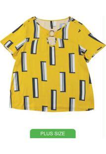 Blusa Com Decote Redondo Estampada Amarelo