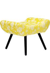 Puff Decorativo Alana Lymdecor Tecido Amarelo
