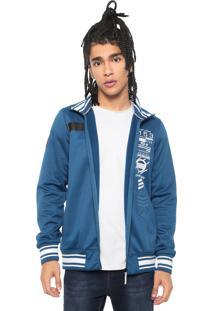 Jaqueta Gangster Estampada Azul