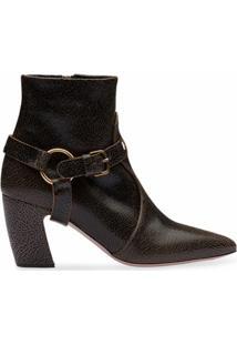 Miu Miu Ankle Boot Com Fivela E Tiras Removíveis - Marrom