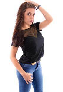 Blusa Up Side Wear Decote Dourado Preta - Tricae