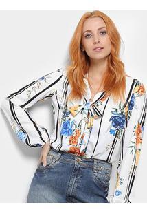 Body Camisa Dimy Feminino - Feminino-Branco+Azul