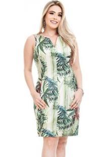 Vestido Clara Arruda Decote V Feminino - Feminino-Verde Claro+Verde