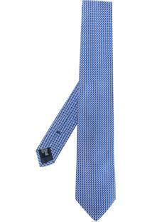 Emporio Armani Gravata De Seda Com Padronagem - Azul