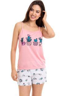 Pijama Feminino Short Doll Alcinha Cactus Com Algodão Luna Cuore