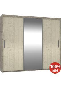 Guarda Roupa 3 Portas C 1 Espelho 100% Mdf 1979E1 Demol/Marfim Areia - Foscarini