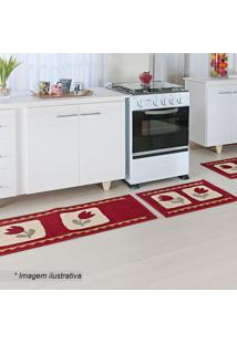 Jogo De Tapetes Para Cozinha Madrid- Vermelho & Off Whitoasis