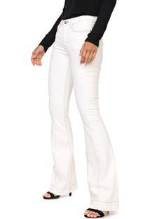 Calça Sarja Calvin Klein Flare Pespontos Off-White