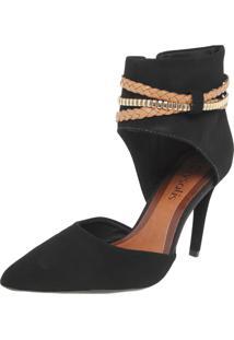 Ankle Boot Crysalis Bico Fino Preto
