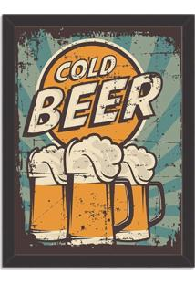 Quadro Decorativo Retrô Cold Beer Preto - Médio