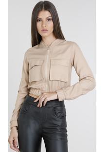 Jaqueta Bomber Feminina Cropped Com Bolsos Kaki