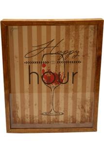 Quadro Decorativo Tabaco Porta Rolhas Happy Vinho Prolab Gift - Marrom - Dafiti