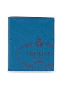 Prada Carteira Saffiano De Couro - Azul