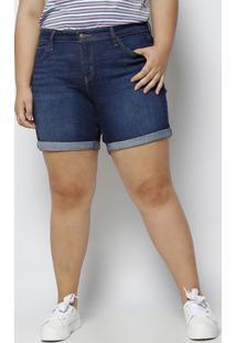 Bermuda Jeans Com Pespontos - Azul Escurolevis