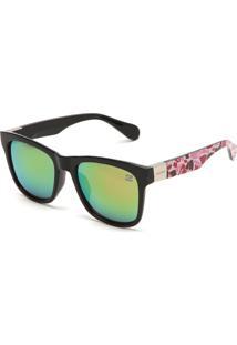 Óculos De Sol Gangster Geométrico Verniz Preto/Rosa