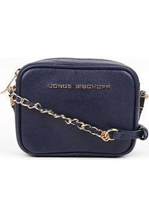 Bolsa Couro Jorge Bischoff Mini Bag Basic Feminina - Feminino-Marinho