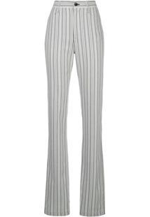 Proenza Schouler White Label Calça Listrada Cintura Alta - Branco