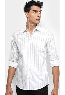 Camisa Calvin Klein Manga Longa Slim Masculina - Masculino-Branco
