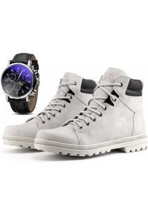 Bota Coturno Com Relógio Juilli Adventure Social 02 Branco-Gelo