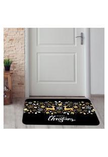 Tapete De Natal Para Porta Renas Douradas Único