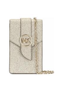 Michael Michael Kors Glitter Detail Smartphone Crossbody Bag - Dourado