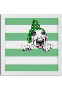 Quadro Decorativo Com Moldura Pets Laço Branco