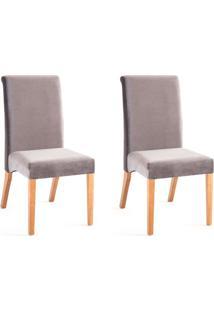 Conjunto Com 2 Cadeiras De Jantar Luiza Cinza E Castanho