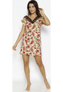 Camisola Texturizada & Floral Com Renda- Amarelo Claro &Zulai