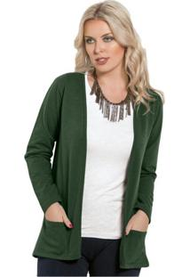Cardigan Moda Pop Aberto Com Bolso Verde