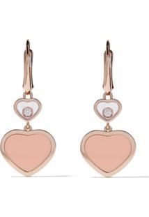 Chopard Par De Brincos 'Happy Hearts' De Ouro Rosê 18K Com Diamante - Rose Gold