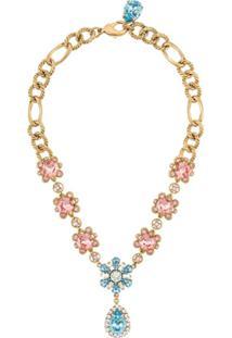 Dolce & Gabbana Floral Crystal-Embellished Necklace - Dourado