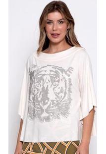 Blusa Bisô Tiger Feminina - Feminino-Off White