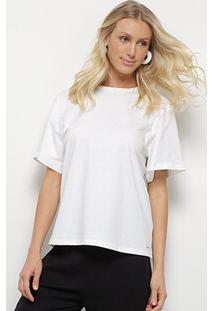 Camiseta Colcci Oversized Maxi Botões Feminina - Feminino-Branco