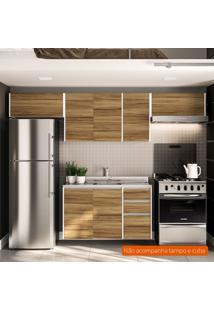 Cozinha Compacta Mali 7 Pt 3 Gv Nogal E Branca