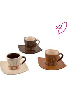 Jogo De Xícaras De Café Stripes- Colorido- 6Pçs-Bon Gourmet