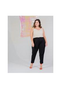 Calça Reta Almaria Plus Size Miss Taylor Bolso-Faca Preto