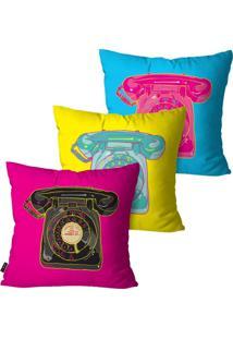 Kit Com 3 Capas Para Almofadas Pump Up Decorativas Pink Telefones 45X45Cm