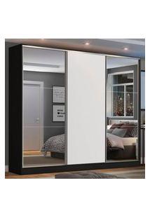 Guarda Roupa Casal 100% Mdf Madesa Zurique 3 Portas De Correr Com Espelhos Preto/Branco Branco
